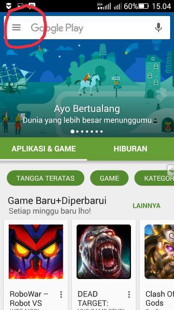 Menu PlayStore