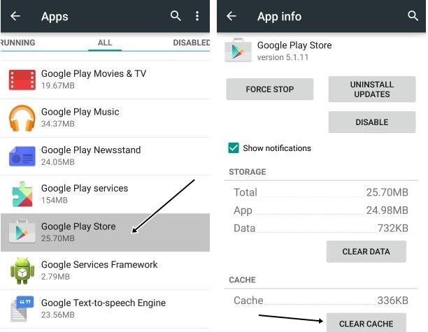 Clear Cache pada Google Play