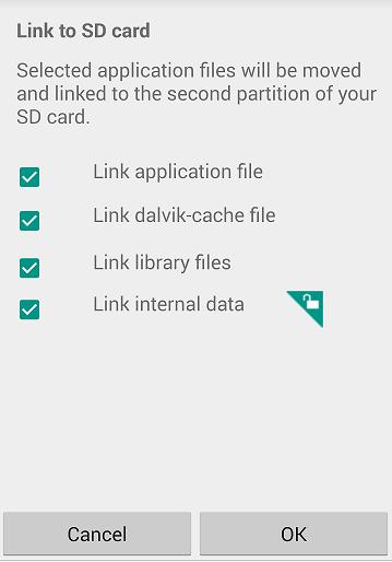 Cara Memindahkan Aplikasi ke sd card dengan Link2sd - Centang Menu