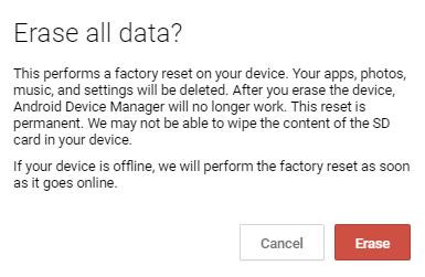 Hapus Seluruh Data dengan Android Device Manager