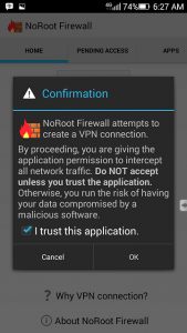 Konfirmasi NoRoot Firewall